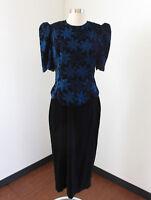 Vtg Black Blue Floral Metallic Velvet Midi Cocktail Party Dress Puff Sleeve 12