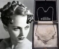 VINTAGE 1950s ART DECO SPHINX MARCASITE NECKLACE SIGNED COLLECTOR BRIDAL GIFT