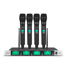 Pro Audio Wireless Microphone System 4 Channel 4 Handheld Metal Mic Uhf Karaoke