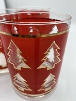 Vtg Georges Briard Set of 3 Christmas Tree Old Fashioned Rocks Glasses