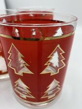 Vtg Georges Briard Set of 3 Christmas Tree Old Fashioned Rocks Glasses
