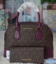 NWT MICHAEL KORS HATTIE MK Sig. BOWLING Satchel Bag + Wallet In BROWN/PLUM $576