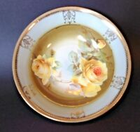 Germany - Pale Green Serving Bowl With Hand Painted Yellow Roses - Gold Accents