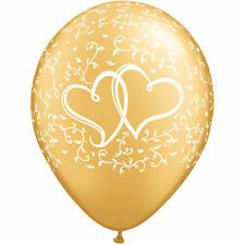 Gold Entwined Hearts latex balloons x 5