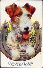 Friendship~Signed TAYLOR~TERRIER DOG~HORSE SHOE~HEATHER~Vintage Postcard