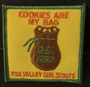 """Vintage Girl Scouts Embroidered Patch 1980 Fox Valley """"Cookies are my bag"""""""
