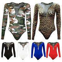 New Womens Ladies Fancy Dress Halloween Printed Mesh Insert Leotard Bodysuit Top