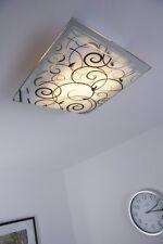 Plafonnier Dessin Carré Lampe à suspension moderne Lustre Verre Noir/Blanc 62943