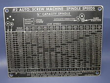"""Brown & Sharpe Spindle Speed Gear Chart For 3/4"""" Capacity #2 Screw Machine"""