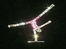 Rhinestone Gymnastics Handstand Lapel Pin - Sparkling