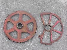 Original Industrial Red Unique Wheel Gear Pulley Guard Lot Farm Find Iron Metal