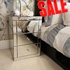 Clear Glass Mirrored Bedside Tables Cabinet With 3 Drawers Nightstand Side Table