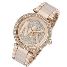 Nuevo Michael Kors MK6176 Parker Oro Rosa Pave Cristal MK Logo Dial Mujer Reloj