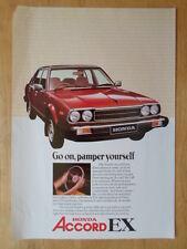 HONDA ACCORD EX 1979 1980 UK Mkt Sales Leaflet Brochure