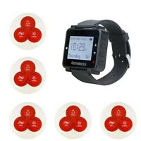 Restaurant Waiter Paging System Watch Receiver Time Display+5*Call Button Pagers
