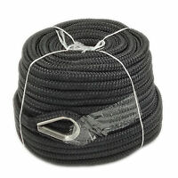 1/2″ x 150′ Double Braid Nylon Rope Anchor Line with Thimble Black