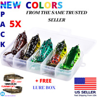 5x High Quality Fishing SNAKEHEAD Lures Frog Topwater Crankbait +BOX Bass Bait