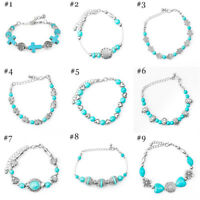 Fashion Tibetan Silver Jewelry Beads Bangle Girls Turquoise Bracelet Chain New