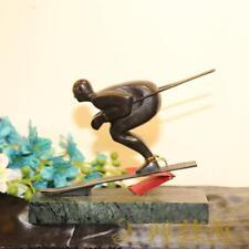 abstract Art Deco Sculpture Man Skier male Bronze Marble Statue Figurine