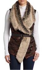 NWT $249 5/48 Draped Faux Fur Vest Brown Size Medium