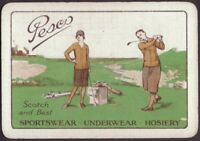 Playing Cards 1 Single Card Old Wide PESCO SPORTSWEAR Advertising Lady Girl GOLF