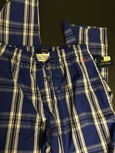 Polo Ralph Lauren Plaid pajama pants Men Size Medium Blue Brand New Tags $45