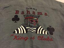 "Tommy Bahama Silk Linen Embroidered Hawaiian Shirt ""The King of Clubs"" Men's XL"