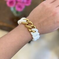 White & Gold Summer Curb Chain Statement Bracelet Curbz for Hooper Bolton RRP£49
