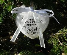 Memory heart Feathers appear when Angels are Near glass 9cm bauble mum dad wife