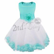 UK Baby Princess Bridesmaid Flower Girl Dress Wedding Formal Petals Lace Dresses