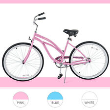 "26"" Classic Womens Bike Beach Cruiser Single Speed Road Bicycle Lightweight Pink"