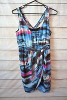 Guess Pencil Dress Blue Pink Black Floral Stripe Sleeveless Size 8