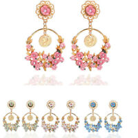 Floral Fashion Vintage Flower Big Circle Ear Stud Drop/Dangle Earrings women