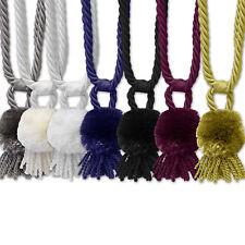 Pom Pom Braided Rope Window Curtain Tassel Tieback 2 Pack