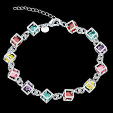"""925 Sterling Silver Filled Cube Chain Bracelet With Colorful Zirconia Stone 8"""""""