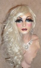 Drag Queen Wig in Lightest Pale Blonde Long Layered Curls and Long Bangs