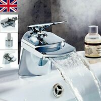 NEW Modern Waterfall Bathroom Tap Basin Sink Mono Mixer Chrome Cloakroom