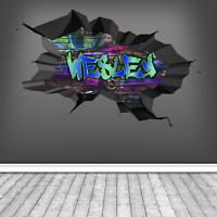 CUSTOM GRAFFITI FOOTBALL NAME BRICK WALL STICKER BOYS ART MURAL DECAL WSDPGN142