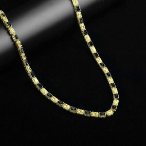 """New 14K Yellow Gold Over Real Silver Yellow & Black CZ """"Showy"""" Tennis Chain 22"""""""