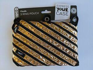 NWT ZipIt Metallic Rose Gold 3-Ring Pencil Pouch Zipper Closure