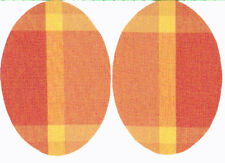 IRON-ON PATCHES - CHECK PATT - ORANGE/YELLOW OVAL  SHAPED - COTTON