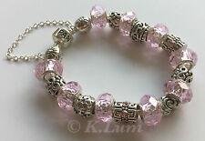 Sterling Silver European Style Pink Glass Beads Heart Infinity Women Bracelet