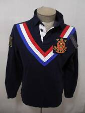 Polo Ralph Lauren Mens Shirt M Equine Crest Fleece Navy Red Rugby V Chevron $165