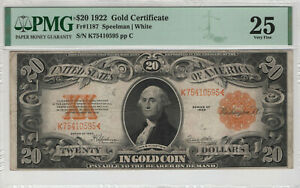 1922 $20 GOLD CERTIFICATE NOTE FR.1187 SPEELMAN WHITE PMG VERY FINE VF 25 (595)