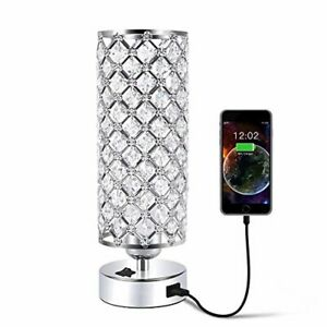 USB Crystal Table Desk Lamp with USB Port, Acaxin Elegant Bedside Light with Cry