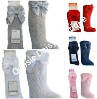 Baby Girls Pelerine Spanish Style Knee High Socks With Ribbons - 0-6 Years ☆