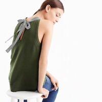 J Crew Green Sleeveless Grosgrain Trim Stripe Knit Sweater Size M Medium
