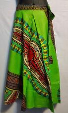 African Dashiki Print wrap around Skirt Maxi Vintage 70s Lime Green Free size