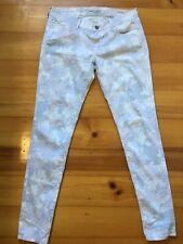 Mavi Jeans Co Size 12 Serena Skinny Leg Low Rise Floral Print Grey White Jeans