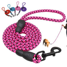 Nylon Braided Rope Dog Walking Leash Strong Long Dog Training Leads 5FT 4 Colors
